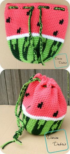 Wonderful Watermelon Drawstring Bag crochet pattern by DivineDebris #crochetideas