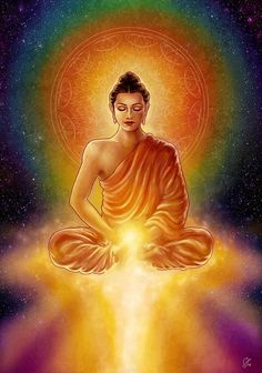 Golden Buddha Blessings Painting by Caroline Jamhour