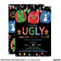 Ugly Sweater Christmas Party Tacky Vest Chalkboard Invitation Tacky Christmas Party, Christmas Fairy Lights, Office Christmas Party, Ugly Sweater, Ugly Christmas Sweater, Small Birthday Parties, Disco Party Decorations, Chalkboard Invitation, Christmas Party Invitations