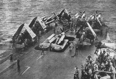 A group of Chance Vought Corsairs and Fairey Barracudas waiting to be lowered into the hanger on HMS Illustrious Hms Illustrious, Aircraft Carrier, Royal Navy, Pilots, Military Aircraft, World War Ii, Wwii, British, History