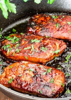 a simple recipe for Korean style marinated pork chops, resulting in melt in your mouth, super delicious pork chops. Best ever!
