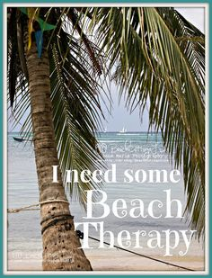 I Need Some BEACH THERAPY *Caribbean Island Sailboat & Palm Tree (Seaside Coastal Quote Beach House Bungalow Cottage Photography Wall Art)