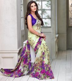 YellowFashion.in — Light yellow, pink & purple color georgette casual party sarees : ariyana collection yf-29567 | Casual party sarees