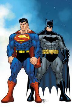 "Ed McGuinness and Dexter Vines from the ""Batman/Superman. World's Finest Mundo Superman, Logo Superman, Superman Movies, Batman Vs Superman, Dc Comics Characters, Dc Comics Art, Xman Marvel, Comics Und Cartoons, D Mark"