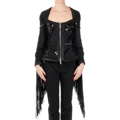 Dsquared2 Embroided Jacket ICON with Applications and Fringe ($4,305) ❤ liked on Polyvore featuring outerwear, jackets, black, embroidery jackets, zipper jacket, dsquared2 jacket, embroidered jacket and fringe jackets