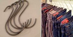 Hang jeans and pants by their belt loops on as S-hook. This will free up a whole bunch of space in your closet and it also makes pants really easy to hang up.