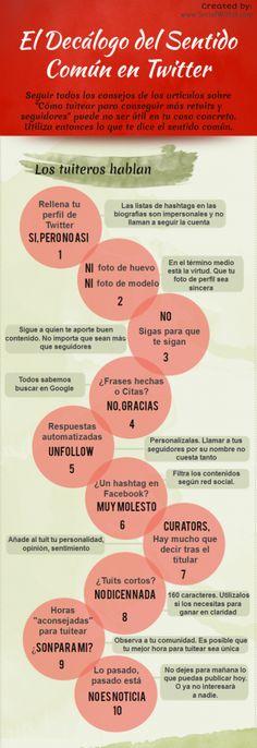 Infografía en español que muestra el decálogo del sentido común en Twitter