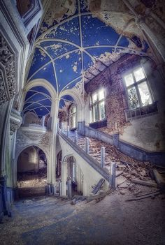Crumbling ceilings and a grand staircase