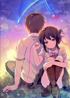 Anime picture kimi no na wa miyamizu mitsuha tachibana taki mitsuki ponzu tall image blush looking at viewer short hair black hair brown eyes signed payot ahoge full body head tilt from behind couple arm support sparkle crossed legs 514239 en Film Manga, Film Anime, Manga Anime, Anime Love Couple, Cute Anime Couples, Anime Kawaii, Anime Cosplay, Anime Style, Mitsuha And Taki