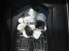 Roezee's Wreaths and More. My wreaths are made to order and while supplies last. I design all types of wreaths for. Soccer Wreath, Wreath Crafts, Diy Crafts, Football Decor, Soccer Stuff, Wreath Making, Deco Mesh Wreaths, How To Make Wreaths, My Design