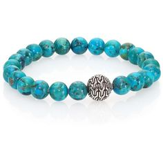 John Hardy Classic Chain Turquoise   Sterling Silver Beaded Stretch Bracelet 0d091e28702e
