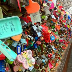 "Couples ""lock their love"" to the fence and throw over the key Seoul, Fence, Korea, Places To Visit, Explore, Adventure, Couples, Travel, Style"