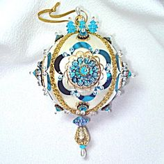 Blue Jewels On White Beaded Sequin Vintage Christmas Ornament