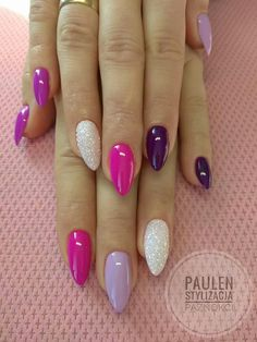 Glitter nail art designs have become a constant favorite. Almost every girl loves glitter on their nails. Have your found your favorite Glitter Nail Art Design ? Beautybigbang offer Glitter Nail Art Designs 2018 collections for you ! Ongles Gel Violet, Multicolored Nails, Pink Nail Designs, Colourful Nail Designs, Almond Nails Designs Summer, Colourful Nails, Easter Nail Designs, Colorful, Trendy Nail Art
