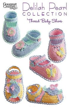 Crochet Thread Baby Shoes -with colorful size 10 crochet thread. Instructions are included for size