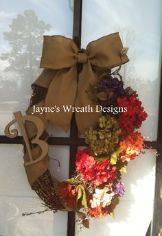 All year grapevine wreath with hydrangeas and burlap