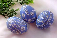 Sorbische Ostereier, Ostereier in hellblau, Wunderschöne pastellfarbenes Set