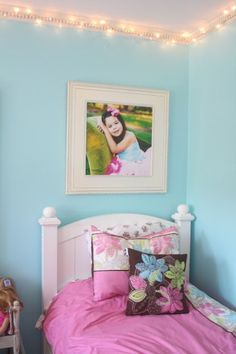Fairy Lights In Little Girls Room- the positioning of the lights are a little safer.