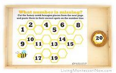 Free Bee Printables and Montessori-Inspired Bee Activities Numbers Preschool, Free Preschool, Preschool Printables, Bee Activities, Letter Activities, Letter H Crafts, Homeschool Kindergarten, Montessori Homeschool, Teaching Math