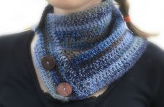 Blue and Brown ButtonUp Neckwarmer by tiniestmonkey on Etsy, $10.00