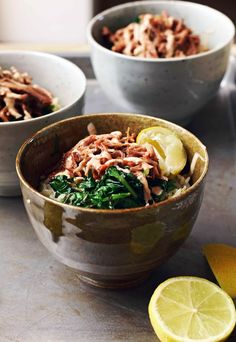 Pulled Pork and Greens Rice Bowl. Pulled Pork and Greens Rice Bowl with Chipotle Yoghurt Sauce Great Recipes, Whole Food Recipes, Dinner Recipes, Favorite Recipes, Healthy Recipes, Healthy Food, Pork Dishes, Rice Bowls, Savoury Dishes