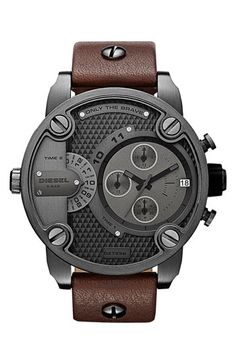 DIESEL® Little Daddy Chronograph Leather Strap Watch, 51mm available at #Nordstrom | Raddest Men's Fashion Looks On The Internet: http://www.raddestlooks.org