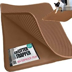 iPrimio® **JUMBO SIZE** Cat Litter Trapper - EZ Clean (Brown/Tan) - 32 inches by 30 inches / Super BIG. Exclusive Water Proof Layer and Puppy Pad Option. Patent Pending.