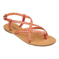Braided strap thong sandal with adjustable buckle. Nine West