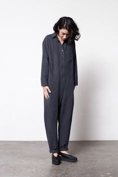 Image of Base Range Shirt Jumpsuit Fashion Designer, Playsuit Romper, Minimal Fashion, Looks Cool, Look Fashion, Women Wear, Dressing, Normcore, Street Style