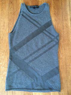 8c4adb558d5d2a Ralph Lauren Black Label Cashmere Tank Top Grey with Diagonal Striping -  Size S  RalphLaurenBlackLabel