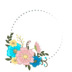 Floral frame with colorful flower. Flower Frame, Flower Art, Flower Template, Pattern Flower, Parchment Design, Circle Borders, Page Borders Design, Free Frames, Pretty Images