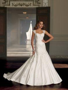 David Tutera for Mon Cheri – Wedding Dresses 2014 Like the cap sleeves on this one.  Very elegant!