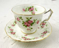 "Aynsley Tea Cup and Saucer ""Grotto Rose"", Pink Roses, Vintage Bone China"