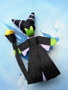 Maleficent Ribbon Sculpture Hair Bow by SiennasBowtique on Etsy