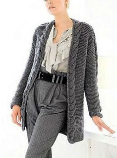 Hand Knit Long Cardigan Coat from Merino Wool Made to order .  fff8d92aa3fe