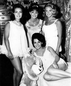 Some of the gals from that silly 'party movie' Pajama Party (1965) -- standing L-R Susan Hart, Donna Loren, Cheryl Sweeten and Annette on the bed