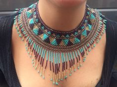 Items similar to Aztec Handmade Beaded-Necklace, Mexican Native Jewelry by Nativo Designs on Etsy Aztec Necklaces, Indian Necklace, Mexican Fashion, Beaded Necklace Patterns, Mexican Jewelry, Beaded Collar, Beaded Ornaments, Macrame Jewelry, Beads And Wire