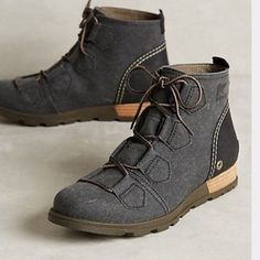Sorel for anthropologie major lace boots Third pic shown for style. Never worn.  No box. SOREL Shoes