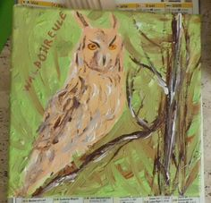 Eule gemalt / Gemälde in Acryl: Vogel, Eule, Waldohreule (Thema: Kunst / Malerei / Acryl / DIY). Painting / canvas, acrylic: Bird, Owl (long-eared owl) (Theme: Art / painting / acrylic / DIY).