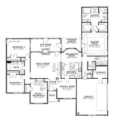 Perfect floor plan and with a sunroom!! First Floor Plan of European Traditional House Plan 61057
