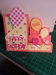 Side Step Card, Stepper Cards, Folded Cards, Handmade Cards, Birthday Cards, Stamps, Card Making, Happy, Fun