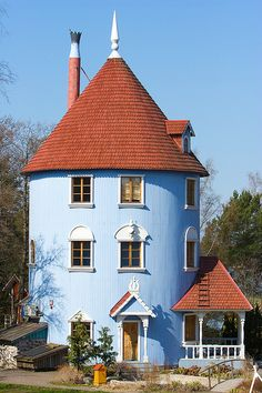 Muumi House by Edvard Wendelin, via Flickr Moomin House, Moomin Valley, Cyan, Tove Jansson, Ottoman, Practical Magic, Fairy Land, Helsinki, Turquoise