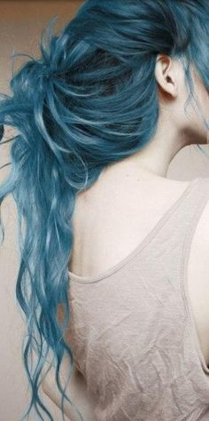 """Blue hair inspired by Karou from """"Daughter of Smoke and Bone"""" :D"""