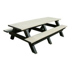 Outdoor Polly Products Deluxe Rectangle Recycled Plastic Picnic Table Brown Brown - ASM-DPT8-02-BROWN FRAME-BROWN TOP