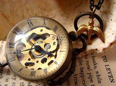Le Temps Perdu Steampunk Vintage Watch Clock Pendant Necklace....