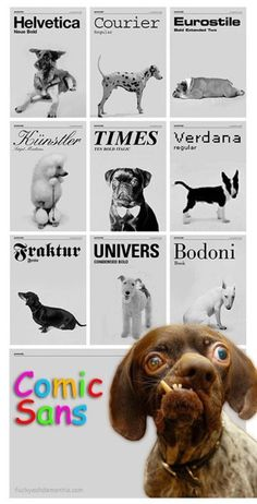 Fonts as expressed by dogs....and so true...Comic Sans is seriously the worst, ugliest font ever. pet peeve indeed.