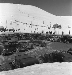 L'ALPE D'HUEZ - FOULE DES GRANDS JOURS AU SIGNAL - retirage photo Machatschek (1938)
