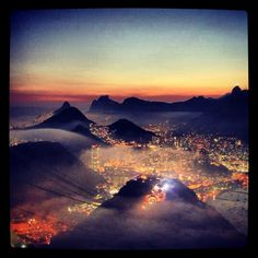 Rio de Janeiro by Night, view from the sugar loaf