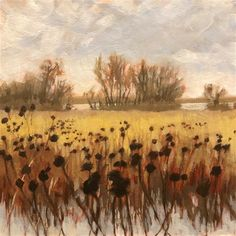 """Daily Paintworks - """"Wintry Fields 2"""" - Original Fine Art for Sale - © Jim Musil"""