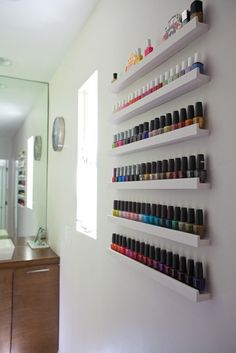 Make up organization & storage in master bedroom closet or bathroom with picture ledge. More picture ledge ideas. - Organised Pretty Home Ribba Picture Ledge, Picture Frames, Rangement Makeup, Nail Polish Storage, Nail Polish Wall Rack, Organizing Nail Polish, Nail Polish Stand, Nail Polish Holder, Nail Room